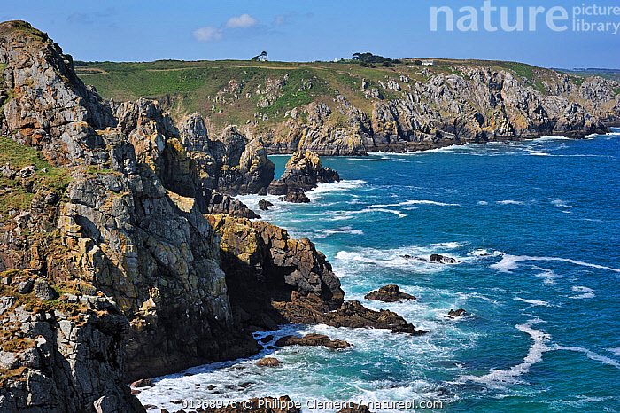 The rocky coast at Cap de Sizun, nature reserve and bird sanctuary in Finist�re, Brittany, France June 2011  ,  CLIFFS,COASTAL WATERS,COASTLINE,COASTS,EUROPE,HABITAT,LANDSCAPES,MARINE,ROCKS,ROCKY,SEA,WATER,Geology  ,  Philippe Clement