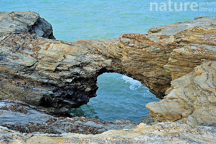 The eroded rock formation Le Trou du Diable at Saint-Hilaire-de-Riez, La Vend�e, Pays de la Loire, France