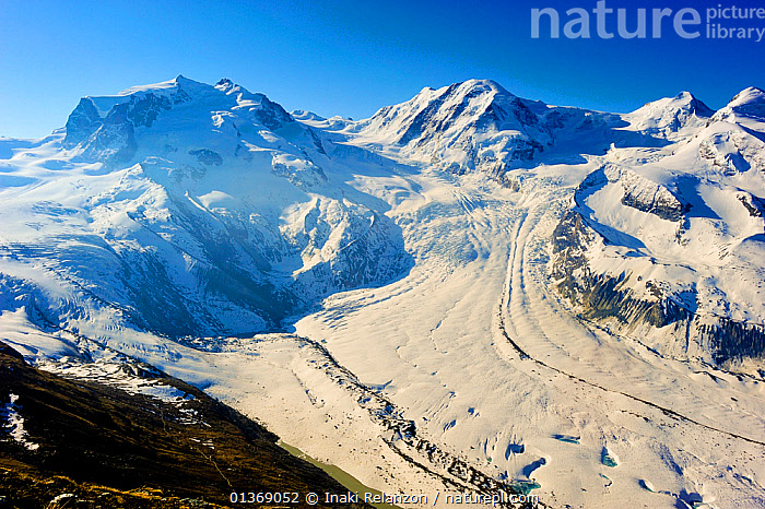 Glacier descending from Monte Rosa and Cervino (The Matterhorn) massif, Pennine Alps, Switzerland, April 2011.  ,  ALPINE,ALPS,EUROPE,GLACIERS,LANDSCAPES,MOUNTAINS,PEAKS,SNOW,SWITZERLAND,Geology  ,  Inaki Relanzon