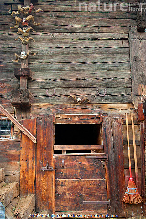 Traditional timber doors and walls with sheep horns and horse-shoes, Zermatt, Alps massif, Switzerland, April 2011.  ,  ALPINE,ALPS,BARNS,BUILDINGS,DOORS,EUROPE,HORNS,HOUSES,MOUNTAINS,SWITZERLAND,TRADITIONAL,VERTICAL,WOODEN  ,  Inaki Relanzon