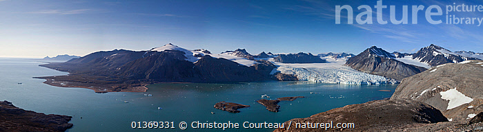 Panoramic landscape of the northern coast of King's Bay and Blomstrand Glacier, Spitzbergen, Svalbard, Norway, July 2011.  Digital blend of 29 images  ,  ARCTIC,COASTS,EUROPE,GLACIERS,ICE,LANDSCAPES,NORWAY,PANORAMIC,SPITSBERGEN,SPITZBERG,SPITZBERGEN,STITCH,SVALBARD,Geology,Scandinavia  ,  Christophe Courteau