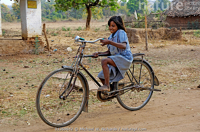 Young girl on a large bicycle, Madhya Pradesh, India, 2006  ,  ASIA,BICYCLES,BIKES,GIRLS,INDIAN SUBCONTINENT,JUVENILE,PEOPLE,TRANSPORT,TRAVELLING,YOUNG  ,  Michael W. Richards