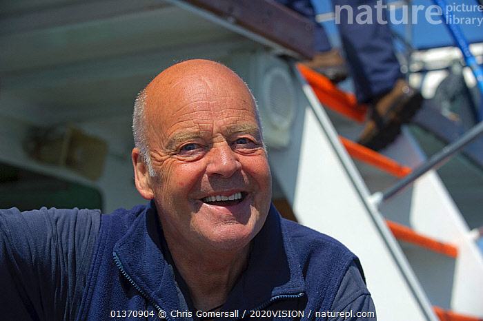 Portrait of Sea Life Surveys founder and proprietor Richard Fairbairns on board Sula Beag, a dedicated wildlife watching boat, Inner Hebrides, Scotland, UK, July 2011  ,  2020VISION,PEOPLE,SCOTLAND,SEAS,UK,BOATS,COASTAL WATERS,EUROPE,MAN,ONE PERSON,PORTRAITS,United Kingdom  ,  Chris Gomersall / 2020VISION