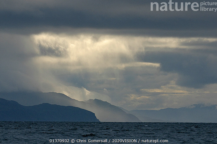 Stormy skies over Ardnamurchan point and the Isle of Mull, Inner Hebrides, Scotland, UK, July 2011  ,  2020VISION,LANDSCAPES,SCOTLAND,SEAS,UK,WEATHER,ATMOSPHERIC,CLOUDS,COASTAL WATERS,EUROPE,OVERCAST,SKY,United Kingdom  ,  Chris Gomersall / 2020VISION