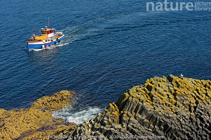 Tourist  boat approaching island of Staffa, Inner Hebrides, with columnar basalt in the foreground, Scotland, UK, July 2011  ,  BOATS,COASTAL WATERS,COASTS,EUROPE,OUTDOORS,ROCK FORMATIONS,ROCKS,WORKING BOATS,2020VISION,GEOLOGY,HIGH ANGLE SHOT,ISLANDS,LANDSCAPES,LEISURE,SCOTLAND,SEAS,TOURISM,UK,United Kingdom  ,  Chris Gomersall / 2020VISION
