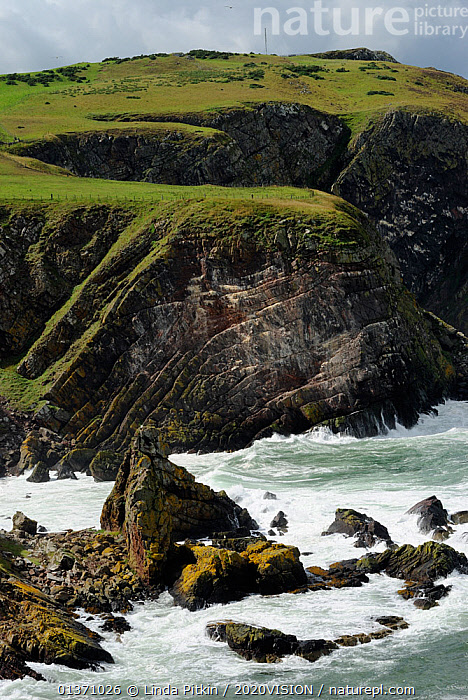 Cliffs showing layers of strata and geological folding, Pettico Wick, St Abbs (St Abbs and Eyemouth Voluntary Marine Reserve), Berwickshire, Scotland, UK, August 2011  ,  ATLANTIC,CLIFFS,EUROPE,ROCKS,VERTICAL,2020VISION,GEOLOGY,LANDSCAPES,SCOTLAND,SEAS,STRIATIONS,UK,WAVES,Marine,United Kingdom  ,  Linda Pitkin / 2020VISION