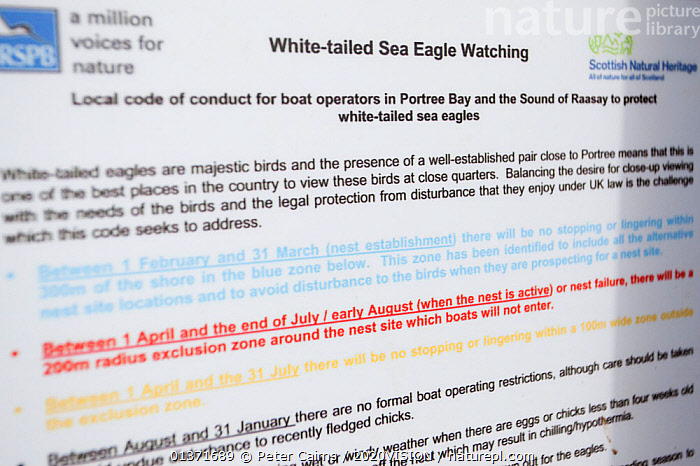Close-up of sign detailing the wildlife watching code used by boat operators watching White-tailed sea eagles on Skye, Inner Hebrides, Scotland, UK, June 2011  ,  2020VISION,ACCIPITRIDAE,BIRDS OF PREY,EAGLES,ECOTOURISM,LEISURE,SCOTLAND,SEAS,TOURISM,UK,VERTEBRATES,BIRDS,CLOSE UPS,COASTAL WATERS,ECO TOURISM,EUROPE,SIGNS,United Kingdom  ,  Peter Cairns / 2020VISION
