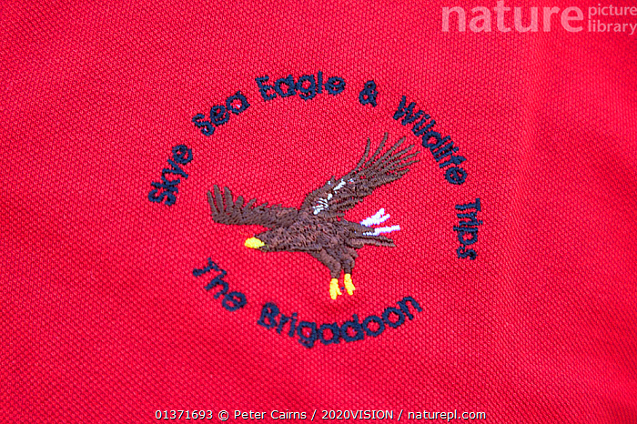 Logo of Brigadoon, a tourist boat operator specialising in trips to see White-tailed sea eagle, Portree, Skye, Inner Hebrides, Scotland, UK, June  ,  2020VISION,ACCIPITRIDAE,BADGE,BADGES ,BIRDS OF PREY,EAGLES,ECOTOURISM,LEISURE,LOGOS ,SCOTLAND,SEAS,TOURISM,UK,UNIFORMS,VERTEBRATES,BIRDS,COASTAL WATERS,ECO TOURISM,EUROPE,RED,United Kingdom  ,  Peter Cairns / 2020VISION