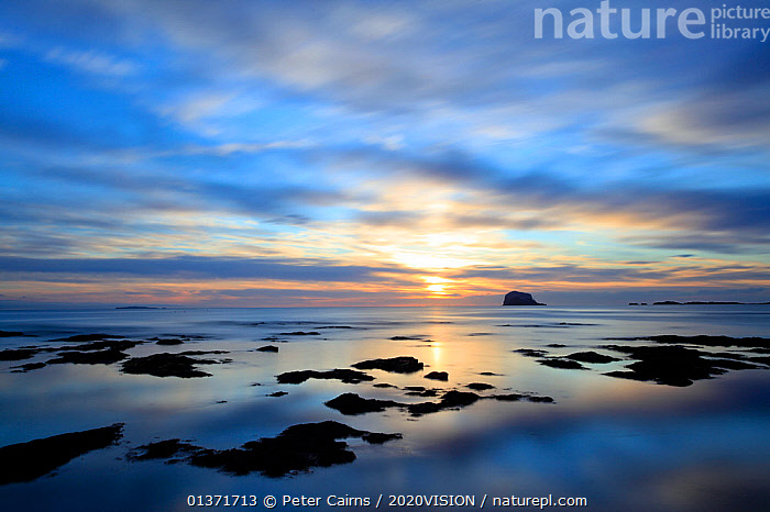 Bass Rock at dawn, North Berwick, Scotland, UK, August. 2020VISION Book Plate. Did you know? Approximately an eighth of the world's Northern gannet population breeds on Bass Rock.  ,  2020VISION,ecotourism,LANDSCAPES,SCOTLAND,seas,UK,2020vision book plate,COASTAL WATERS,DAWN,eco tourism,picday,EUROPE,United Kingdom,2020cc  ,  Peter Cairns / 2020VISION