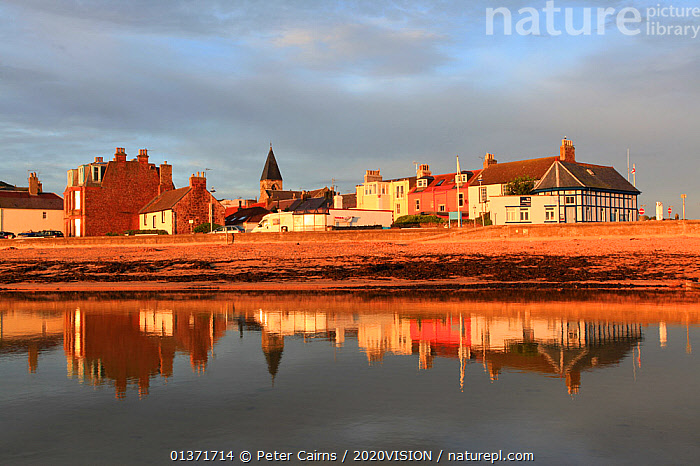 View over coastal town of North Berwick at dawn, Scotland, UK, August  ,  2020VISION,ECOTOURISM,LANDSCAPES,SCOTLAND,SEAS,UK,COASTAL WATERS,ECO TOURISM,EUROPE,United Kingdom  ,  Peter Cairns / 2020VISION