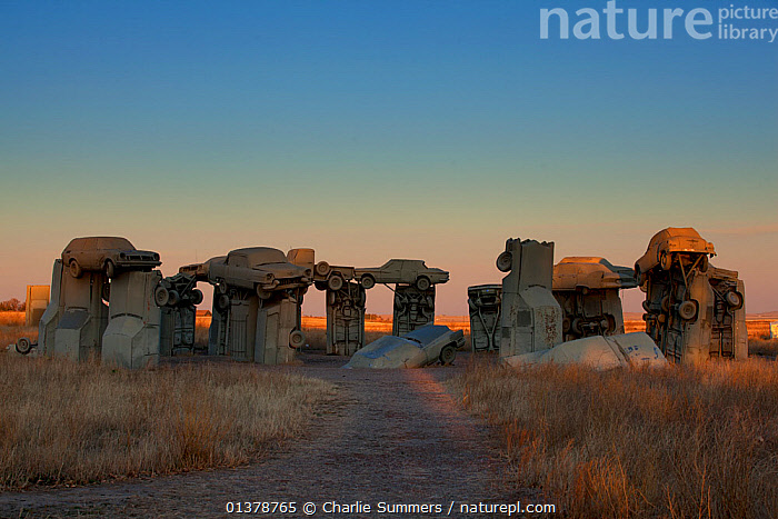 'Carhenge', a sculpture tribute to Stonehenge of Wiltshire, UK. Built from cars in 1987 by Jim Reinders. Nebraska, November 2011.  ,  CULTURE,NEBRASKA,SCULPTURES,USA,ART,CARS,DESERTS,HISTORIC,LANDSCAPES,MONUMENTS,NORTH AMERICA,VEHICLES,WEIRD  ,  Charlie Summers