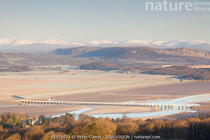 View from Arnside Knott towards Arnside viaduct and the Lake District at dawn, Arnside, Cumbria, England, UK, February  ,  COASTS,EUROPE,SALTMARSHES,2020VISION,BUILDINGS,ENGLAND,LANDSCAPES,RIVERS,SNOW,UK,United Kingdom  ,  Peter Cairns / 2020VISION