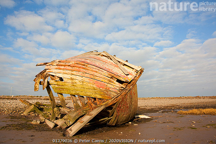 Wrecked fishing boat, Roa Island, Morecambe Bay, Cumbria, England, UK, February 2012  ,  2020VISION,ENGLAND,UK,BOATS,CLOUDS,COASTS,EUROPE,MUDFLATS,OLD,SALTMARSHES,SKIES,SKY,Weather,United Kingdom  ,  Peter Cairns / 2020VISION