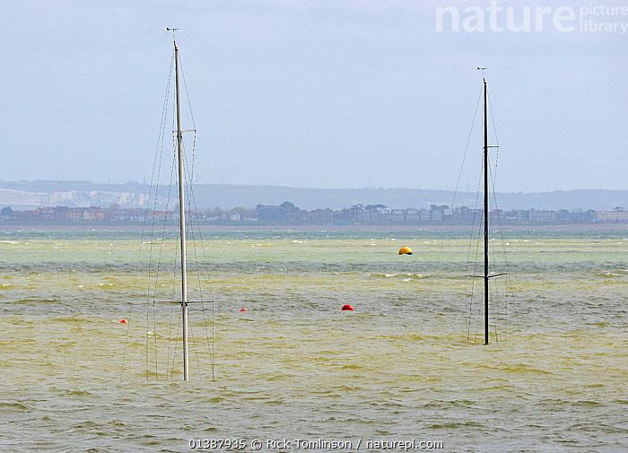 Daring keelboats sunk at their moorings following northeasterly gale in Cowes, Isle of Wight, England, April 29th 2012.  ,  BOATS,BUOYS,COASTS,ENGLAND,EUROPE,EXTREME,LANDSCAPES,MASTS,MISHAPS,MOORED,OBSCURED,SAILING BOATS,SANK,SINK,SINKING,STORMS,SUNK,UK,UNDERWATER,WEATHER,YACHTS,BOAT-PARTS,United Kingdom  ,  Rick Tomlinson