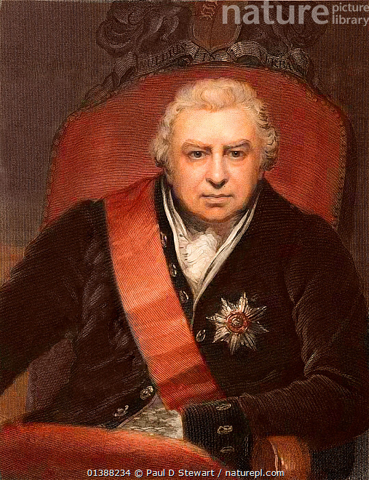 Sir Joseph Banks, botanist and naturalist. (13th February 1743 - 19th June 1820). Engraving by C.E. Wagstaff with later colouring, after the painting of Banks as President of the Royal Society by Phillips 1809. Banks became one of the most influential naturalists of the early 19th century. This image was calculated to show the solid status and power of the Royal Societies president. He made his reputation as the botanist on Cook's first Endeavour voyage. His collections of the Australian flora were unrivalled, and his interest in Australia continued throughout his career. In 1778 he was made president of the Royal Society, a position he held until his death. During that time he increased the standing of the institution and the natural sciences in general. His patronage led to many discoveries during the period and he fostered an international outlook for British science.  ,  18TH CENTURY,19TH CENTURY,AUSTRALIA,BANKSIA,BOTANIST,ENDEAVOUR,HISTORIC,HISTORICAL,HISTORY,ILLUSTRATIONS,JAMES COOK,JOSEPH BANKS,MAN,NEW,PEOPLE,PORTRAITS,ROYAL,SOCIETY  ,  Paul D Stewart