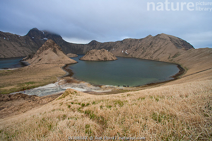 View of flooded caldera of volcano, Yankicha Island, Kuril Islands, Russia 2010  ,  BARREN,CRATERS,EUROPE,LAKES,LANDSCAPES,RUSSIA,VOLCANIC,VOLCANO,WATER  ,  Sue Flood