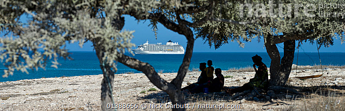People sitting under a tree on the beach with a cruise ship in the background anchored in the Mozambique Channel off the west coast of Madagascar, near Andavadoka. Madagascar, December 2011.  ,  AFRICA,BEACHES,BLUE,BOATS,CRUISE LINERS ,CRUISE SHIP,GROUPS,LANDSCAPES,MADAGASCAR,PANORAMIC,PEOPLE,SKY,TOURISM,TRAVEL,TREES,WATER,PLANTS  ,  Nick Garbutt