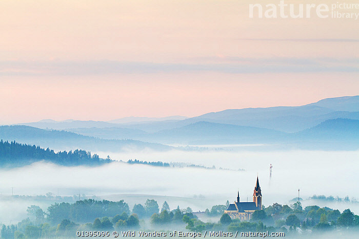 Fog rising from the meadows at dawn near Lutowiska, Bieszczady National Park, Poland, September 2011, BUILDINGS,CHURCHES,COUNTRYSIDE,DAWN,EASTERN CARPATHIANS,EASTERN EUROPE,EUROPE,FLORIAN MOLLERS,LANDSCAPES,MIST,NP,POLAND,RESERVE,REWILDING,WWE,National Park, Wild Wonders of Europe / Möllers