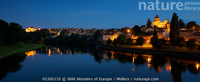 Pont-du-Chateau viewed from across the river Allier at night, Auvergne, France, August 2010  ,  BUILDINGS,EUROPE,FLORIAN MOLLERS,FRANCE,LANDSCAPES,NIGHT,PANORAMIC,REFLECTIONS,RIVERS,TOWNS,WWE  ,  Wild Wonders of Europe / Möllers