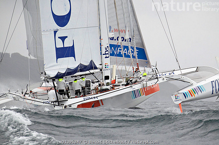 'Foncia' skippered by Michel Desjoyeaux arriving in Brest following transatlantic crossing from New York, during the Krys Ocean Race, France, July 2012. All non-editorial uses must be cleared individually.  ,  BOATS,CHOPPY,COASTS,EUROPE,FINISH ,FRANCE,LARGE,MAXI,MOD70,MOD 70,MS,MULTIHULLS ,RACES,SAILING BOATS,TRIMARANS,YACHTS,SIZE  ,  Benoit Stichelbaut