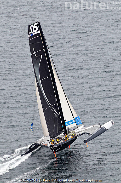 Aerial view of 'Spindrift Racing' arriving in Brest following transatlantic crossing from New York, during the Krys Ocean Race, France, July 2012. All non-editorial uses must be cleared individually.  ,  BOATS,EUROPE,FORESAILS,FRANCE,HEELING,LARGE,MAINSAILS,MAXI,MOD70,MOD 70,MULTIHULLS ,RACES,SAILING BOATS,TRIMARANS,VERTICAL,YACHTS,SIZE  ,  Benoit Stichelbaut