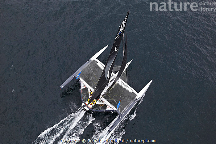Aerial view of maxi-trimaran 'Spindrift Racing' arriving in Brest following transatlantic crossing from New York, during the Krys Ocean Race, France, July 2012. All non-editorial uses must be cleared individually., AERIALS,BOATS,EUROPE,FRANCE,LARGE,MAXI,MOD70,MOD 70,MULTIHULLS ,POWERFUL,RACES,SAILING BOATS,TRAMPOLINES,TRIMARANS,WAKE,YACHTS,SIZE ,Concepts,BOAT-PARTS, Benoit Stichelbaut