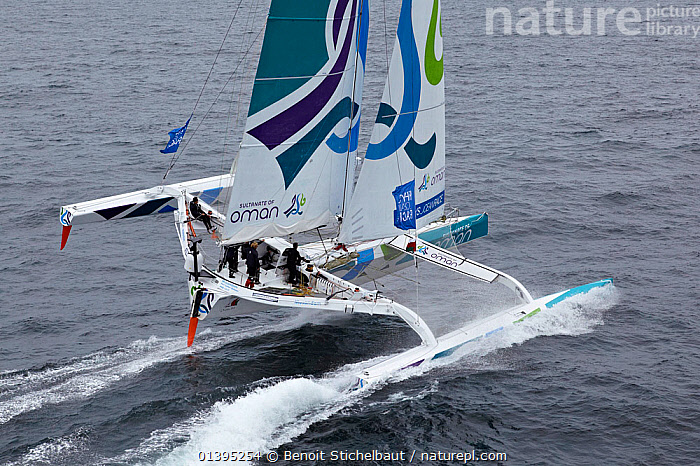Maxi-trimaran 'Musandam Oman Sail' skippered by Sidney Gavignet arriving in Brest following transatlantic crossing from New York, during the Krys Ocean Race, France, July 2012. All non-editorial uses must be cleared individually.  ,  BOATS,EUROPE,FORESAILS,FRANCE,HEELING,LARGE,MAINSAILS,MAXI,MOD70,MOD 70,MS,MULTIHULLS ,RACES,SAILING BOATS,TRIMARANS,YACHTS,SIZE  ,  Benoit Stichelbaut