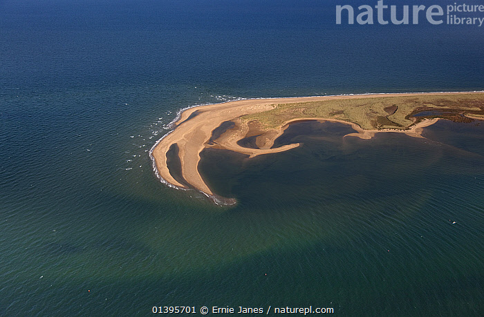 View from the air in early autumn, Blakeney Point, Norfolk, UK, September 2009.  ,  AERIALS,AUTUMN,COASTS,ENGLAND,EUROPE,LANDSCAPES,SUNNY,UK,WATER,WAVES,United Kingdom  ,  Ernie Janes