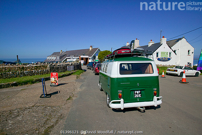 Traffic queing for coastal car park, Rhosilli, Gower, South Wales, April 2009  ,  CAMPERVAN,CARS,COASTS,CONGESTION,DESTINATION,EASTER,EUROPE,HOLIDAYS,LANDSCAPES,POPULAR,QUEUES,ROADS,SOUTH WALES,TRAFFIC,TRAVEL,UK,WALES,Concepts,United Kingdom  ,  David Woodfall