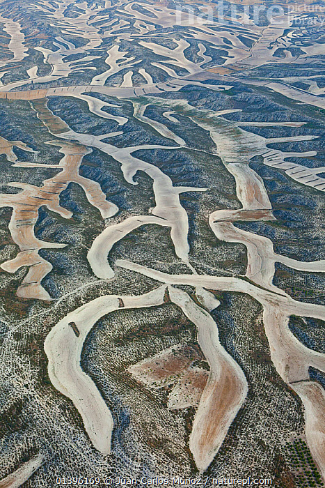 Aerial view of patterns created by agricultural work on land, Los Monegros, Zaragoza Province, Aragon, Spain, July 2011  ,  ABSTRACT,AERIALS,AGRICULTURE,Aragon,arty,catalogue5,EUROPE,FARMLAND,fields,full frame,hillside,LANDSCAPES,Los Monegros,MONEGROS,nature,Nobody,outdoors,patchwork,PATTERNS,Scenic,SPAIN,VERTICAL,ZARAGOZA  ,  Juan Carlos Munoz