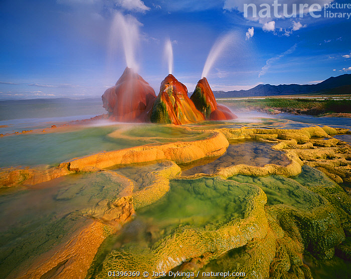 Scalding hot water continuously spouting behind layers of mineral deposits, Fly Geyser, Black Rock Desert, Great Basin Desert, Nevada, USA  ,  Black Rock Desert,catalogue5,force of nature,GEOLOGY,GEOTHERMAL,geysers,Gly Geyser,Great Basin Desert,hot,LANDSCAPES,mineral deposit,MINERALS,nature,Nevada,Nobody,NORTH AMERICA,outdoors,Physical Geography,spouting,SPRAY,steam,USA,WATER,water spray  ,  Jack Dykinga