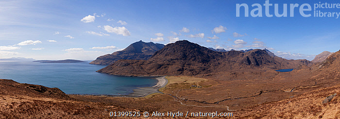 Camasunary Bay with the Cullin Hills in the background. Isle of Skye, Inner Hebrides, Scotland, UK, March 2012.  ,  ATMOSPHERIC,BAYS,CALM,COASTS,EUROPE,HEBRIDES,INNER,ISLANDS,ISLE,LANDSCAPES,MOUNTAINS,PANORAMIC,PEACEFUL,SCOTLAND,SKYE,UK,United Kingdom  ,  Alex Hyde
