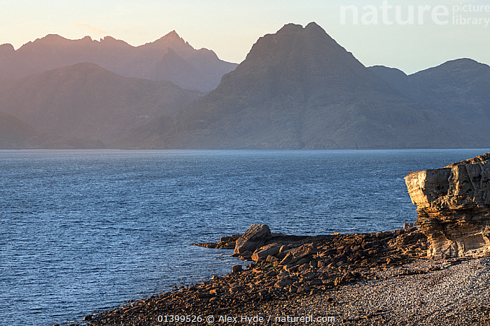 View of the Cuillin Hills across Loch Scavaig from Elgol Beach. Isle of Skye, Inner Hebrides, Scotland, UK, March 2012., BEACHES,CALM,COASTS,EUROPE,INNER HEBRIDES,LANDSCAPES,MOUNTAINS,PEACEFUL,SEASCAPES,UK,SCOTLAND,United Kingdom, Alex Hyde