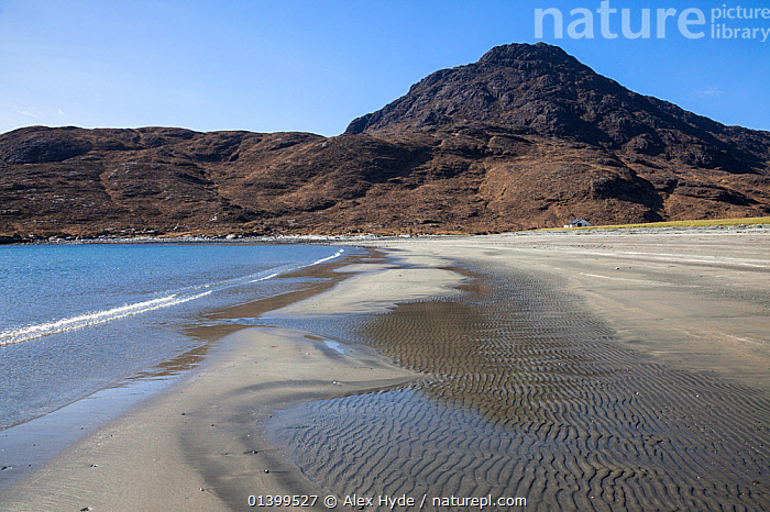 Camasunary Bay with the Cullin Hills in the background. Isle of Skye, Inner Hebrides, Scotland, UK, March 2012.  ,  BEACHES,COASTS,EUROPE,INNER HEBRIDES,ISLE,LANDSCAPES,MOUNTAINS,SCOTLAND,SEASCAPES,SKYE,UK,United Kingdom  ,  Alex Hyde