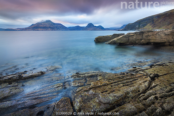 View of the Cuillin Hills across Loch Scavaig from Elgol Beach. Isle of Skye, Inner Hebrides, Scotland, UK, March 2012., ATMOSPHERIC,COASTS,DREAMSCAPE,EUROPE,INNER HEBRIDES,ISLANDS,LANDSCAPES,MOTION BLUR,MOUNTAINS,PEACEFUL,REMOTE,SEASCAPES,UK,SCOTLAND,United Kingdom, Alex Hyde