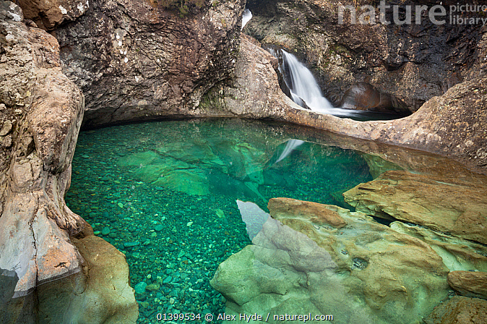 The Fairy Pools, a series of clear pools created by the Allt Coir' a' Mhadaidh river as it cascades down from the Cullin Hills. Glen Brittle, Isle of Skye, Inner Hebrides, Scotland, UK, March 2012.  ,  EUROPE,LANDSCAPES,POOLS,RIVERS,ROCKS,SCOTLAND,STREAMS,UK,WATER,WATERFALL,WATERFALLS,United Kingdom  ,  Alex Hyde