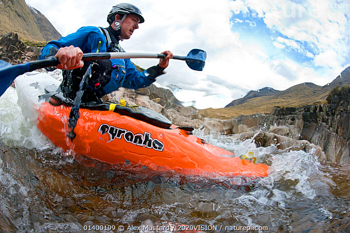 Kayaker on the River Etive, Highlands, Scotland, UK, April 2012. Did you know? Freshwater ecosystems have a higher density of species than either the land or the sea.  ,  2020VISION,EUROPE,HIGHLANDS,KAYAKING,KAYAKS,LEISURE,MAN,OUTDOOR PURSUITS,OUTDOORS,PEOPLE,RAPIDS,RIVERS,picday,SCOTLAND,UK,WATERSPORTS,SPORTS,BOATS,United Kingdom,2020cc  ,  Alex Mustard / 2020VISION