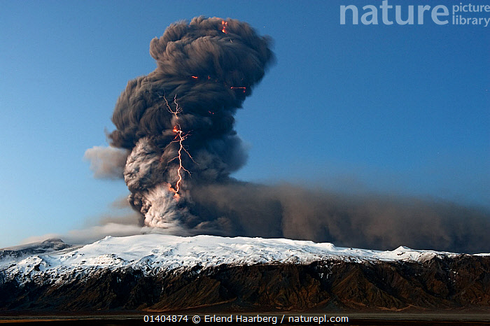 Volcanic eruption at Eyjafjallajokull with lightning in the ash plume, Iceland, April 2010, ACTION,ASH,ERUPTION,EUROPE,EXPLOSION,GEOTHERMAL,ICELAND,LANDSCAPES,LIGHTNING,PLUME,SMOKE,SPECTACLE,VOLCANIC,VOLCANO,Geology,WEATHER ,Catalogue5, Erlend Haarberg