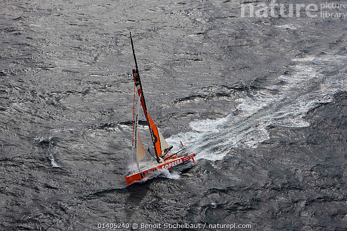 Aerial view of IMOCA 60 'PRB' skippered by Vincent Riou ahead of the Vendee Globe, Ile des Gl�nans, France, September 2012. All non-editiorial uses must be cleared individually., AERIALS,BOATS,EUROPE,OPEN 60,SAILING BOATS,SOLO,WAKE,YACHTS,SAILING-BOATS, Benoit Stichelbaut