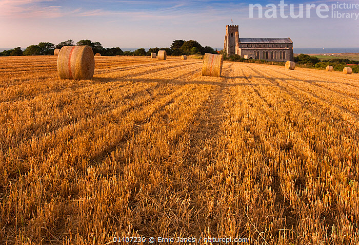 Salthouse Church, stubble field and straw bales after harvest Norfolk, UK, August  ,  AGRICULTURE,BALES,BUILDINGS,CHURCHES,COUNTRYSIDE,CROPS,ENGLAND,EUROPE,FARMING,FARMLAND,FIELDS,HAY,LANDSCAPES,NORFOLK,RURAL,STUBBLE,SUMMER,UK,United Kingdom  ,  Ernie Janes