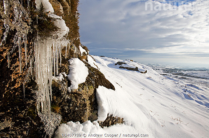 Icicles in winter landscape. Dartmoor, Devon, December 2010.  ,  COUNTRYSIDE,DARTMOOR,ENGLAND,EUROPE,ICE,ICICLES,LANDSCAPES,MOORLAND,NP,RESERVE,SNOW,UK,WINTER,National Park,United Kingdom  ,  Andrew Cooper
