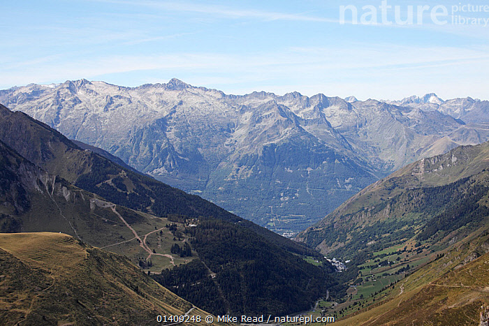View from the Col du Tourmalet west towards Bareges and Luz-St-Sauveur, Pyrenees, France, September 2010., EUROPE,FRANCE,LANDSCAPES,MOUNTAINS,NP,RESERVE,UPLANDS,National Park, Mike Read