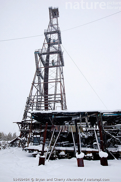 A disused oil/gas drilling derrick near Ratta, Krasnoselkup, Yamal, Western Siberia, Russia 2012, ABANDONED,ARCTIC,ASIA,CIS,DRILLING,GAS,LANDSCAPES,MINING,OIL,PETRO CHEMICAL,RESOURCES,RUSSIA,SIBERIA,VERTICAL,WESTERN SIBERIA, Bryan and Cherry Alexander