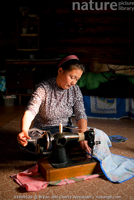 Lena Kuboleva, a young Selkup woman, using a sewing machine on the floor of her family's log cabin, Krasnoselkup, Yamal, Western Siberia, Russia, ARCTIC,ASIA,CIS,CLOTH,CULTURES,FEMALES,HANDICRAFTS,INDIGENOUS,INDOORS,MACHINE,MACHINERY,MACHINES,NATIVE,PEOPLE,PORTRAITS,RUSSIA,SELKUP,SEWING,SIBERIA,SKILL,TRADITIONAL,TRIBAL,TRIBES,VERTICAL,WESTERN SIBERIA,WOMAN,WORKING,,Skill, Efficiency,, Bryan and Cherry Alexander