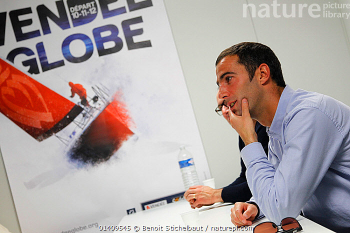 IMOCA 60 'Banque Populaire' skipper Armel le Cleac'h during press conference at Les Sables d'Olonne ahead of the Vendee Globe, France, November 2012. All non-editorial uses must be cleared individually., BOATS,CIRCUMNAVIGATION,EUROPE,FRANCE,INTERVIEW,INTERVIEWS,MAN,MEDIA,OPEN 60,PEOPLE,PRESS CONFERENCE,RACES,SAILING BOATS,SKIPPER,SOLO,YACHTS,SAILING-BOATS,CREWS, Benoit Stichelbaut