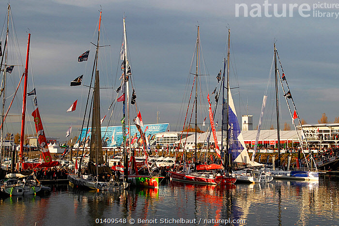 IMOCA 60 fleet in the harbour at Les Sables d'Olonne ahead of the Vendee Globe, France, November 2012. All non-editorial uses must be cleared individually., BOATS,CIRCUMNAVIGATION,COASTS,EUROPE,FLEETS,FRANCE,HARBOURS,MOORED,OPEN 60,RACES,SAILING BOATS,SOLO,TOWNS,YACHTS,SAILING-BOATS, Benoit Stichelbaut