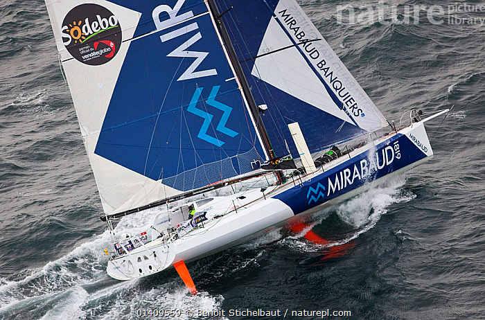 Aerial view of IMOCA 60 'Mirabaud' skippered by Dominique Wavre starting the Vendee Globe from Les Sables d'Olonne, France, November 2012. All non-editorial uses must be cleared individually., AERIALS,BOATS,CIRCUMNAVIGATION,EUROPE,FRANCE,HEELING,MS,OPEN 60,RACES,SAILING BOATS,SOLO,YACHTS,SAILING-BOATS, Benoit Stichelbaut