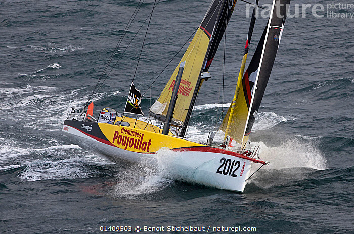 IMOCA 60 'Cheminee Poujoulat' skippered by Bernard Stamm starting the Vendee Globe from Les Sables d'Olonne, France, November 2012. All non-editorial uses must be cleared individually., BOATS,CIRCUMNAVIGATION,EUROPE,FRANCE,HEELING,MS,OPEN 60,RACES,SAILING BOATS,SOLO,YACHTS,SAILING-BOATS, Benoit Stichelbaut