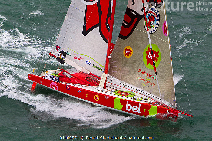 Aerial view of IMOCA 60 'Groupe Bel' skippered by Kito de Pavant starting the Vendee Globe from Les Sables d'Olonne, France, November 2012. All non-editorial uses must be cleared individually., AERIALS,BOATS,CHOPPY,CIRCUMNAVIGATION,EUROPE,FRANCE,MS,OPEN 60,RACES,SAILING BOATS,SOLO,YACHTS,SAILING-BOATS, Benoit Stichelbaut