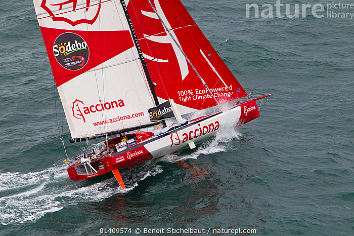 Aerial view of IMOCA 60 'Acciona' skippered by Javier Sonso starting the Vendee Globe from Les Sables d'Olonne, France, November 2012. All non-editorial uses must be cleared individually., AERIALS,BOATS,CIRCUMNAVIGATION,EUROPE,FRANCE,HEELING,MS,OPEN 60,RACES,SAILING BOATS,SOLO,YACHTS,SAILING-BOATS, Benoit Stichelbaut